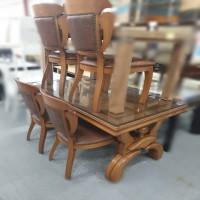 [PT99990214] 통원목 4인 식탁세트(의자4개+유리 포함)
